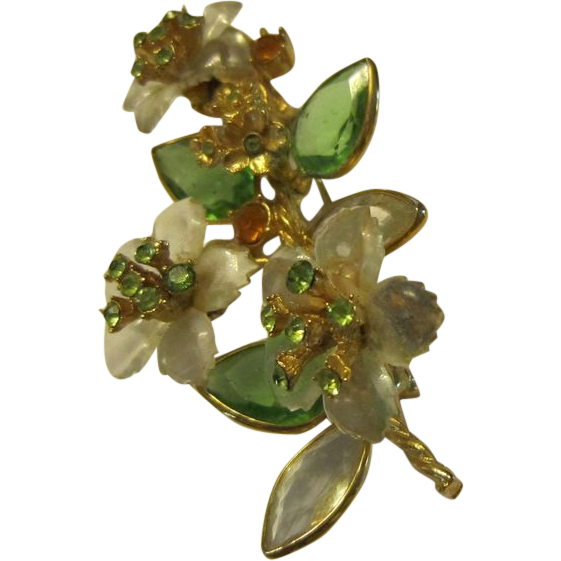 Vendome Lucite Flower Brooch