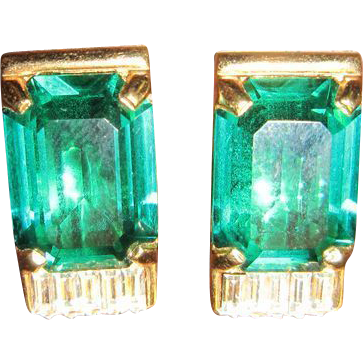 Swarovski Green and White Rhinestone Earrings