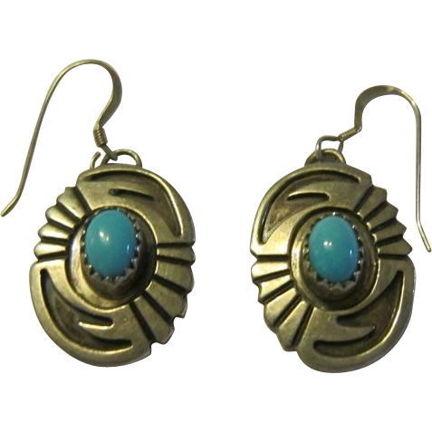 Dangling Earrings - Navajo Overlay Sterling and Turquoise
