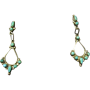 Zuni Turquoise and Sterling Dangle Earrings