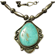Turquoise Pendant and Bench Bead Necklace