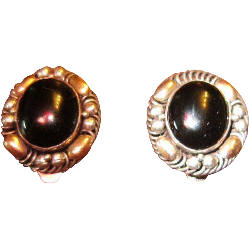 Onyx and Sterling with Vermeil Accents Earrings