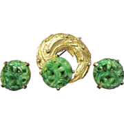 Hattie Carnegie Faux Jade Brooch and Earrings