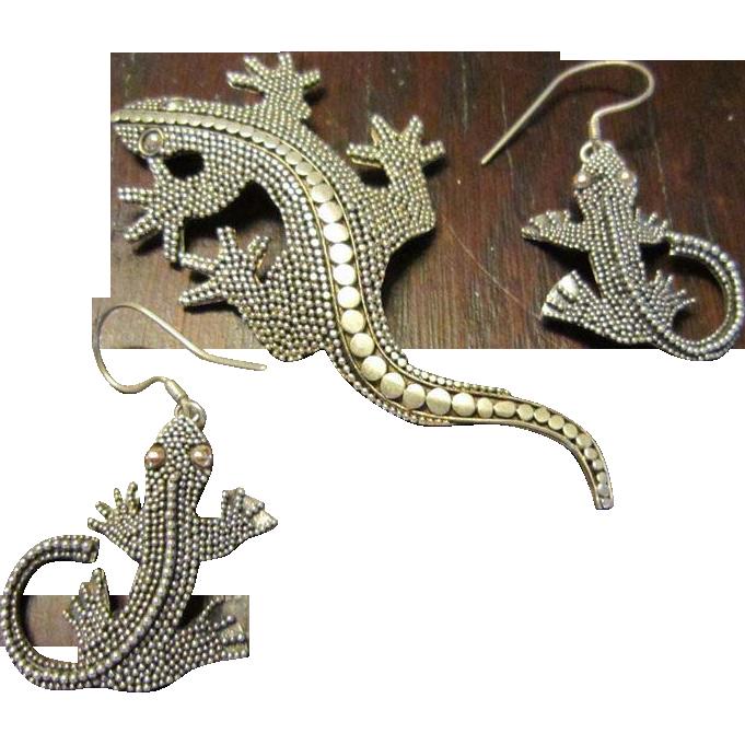 Sterling Lizard Brooch and Earrings