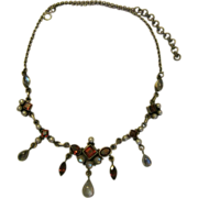 Edwardian Necklace - Sterling, Garnet and Moonstone Glass, Faux Pearls