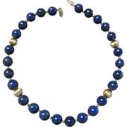 12mm Lapis Bead Necklace with 14K Beads and Clasp