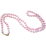 """Pink Angel Skin 8mm Bead Necklace 30"""""""