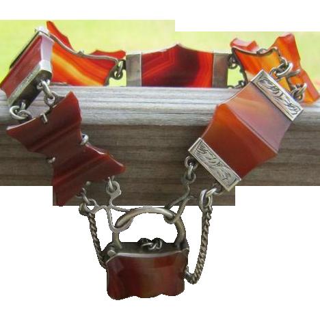 Victorian Agate Sterling Bracelet