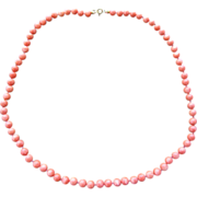 Salmon Coral Bead Necklace -9K Clasp