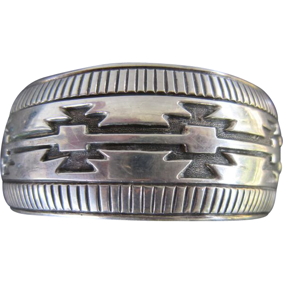 Nakai Sterling Blanket Style Cuff Bracelet - Navajo
