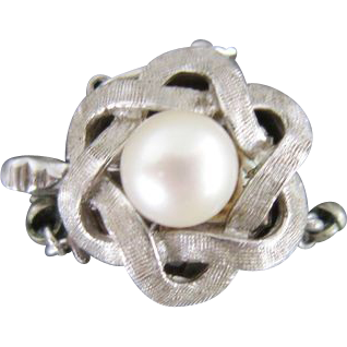 14K White Gold Clasp with Cultured Akoya Pearl for Single Strand Necklace