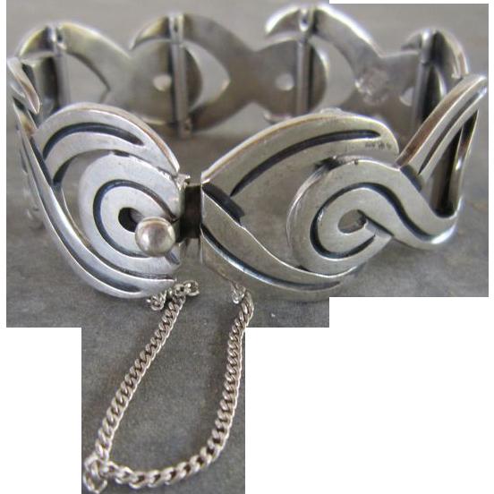 Taxco, Mexico Sculptural Link Sterling Bracelet