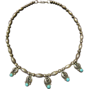 Bennett, Navajo, Turquoise Sterling Bench Bead Necklace