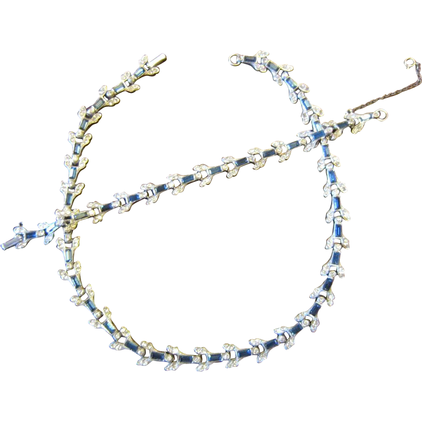 Calvaire Sterling Necklace and Bracelet - Blue and Clear Rhinestones