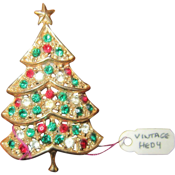 Christmas tree brooch red green white rhinestones from rubylane sold