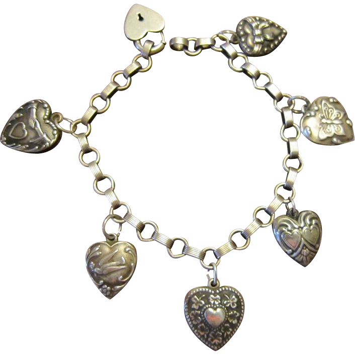 Authentic Lampl Sterling Heart Charm Bracelet