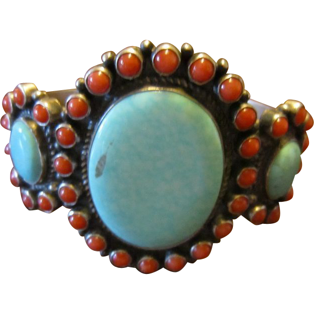 Dean Brown Turquoise Coral Sterling Cuff Bracelet