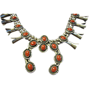 Coral and Sterling Squash Blossom Necklace
