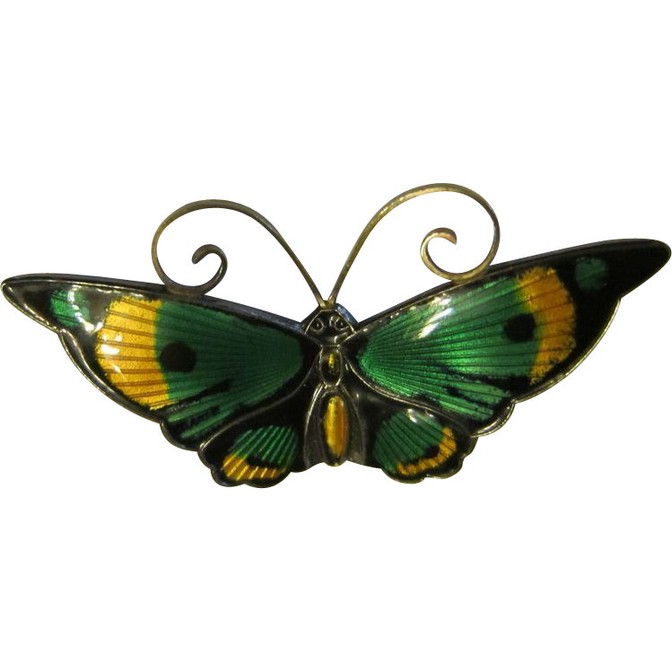 David Andersen Enamel Sterling Butterfly