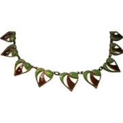 English Arts and Crafts Enamel and Copper Necklace