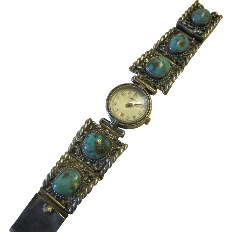 Coolidge Nez Sterling Turquoise Bracelet with Watch