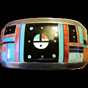 Zuni Inlay Sterling Cuff Bracelet - Red Tag Sale Item