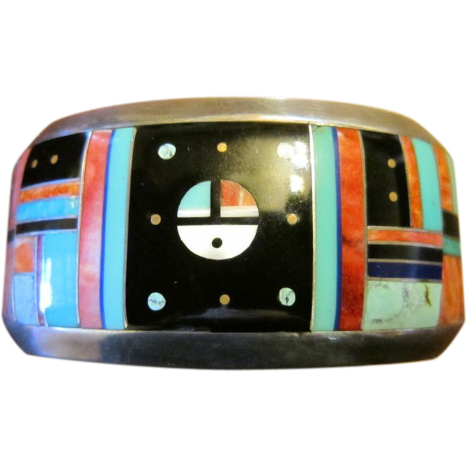 Zuni Inlay Sterling Cuff Bracelet