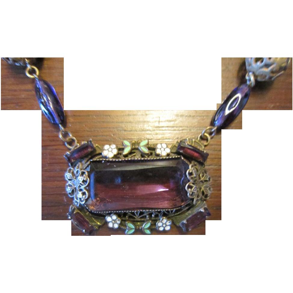 Czech Brass, Enamel and Glass Necklace