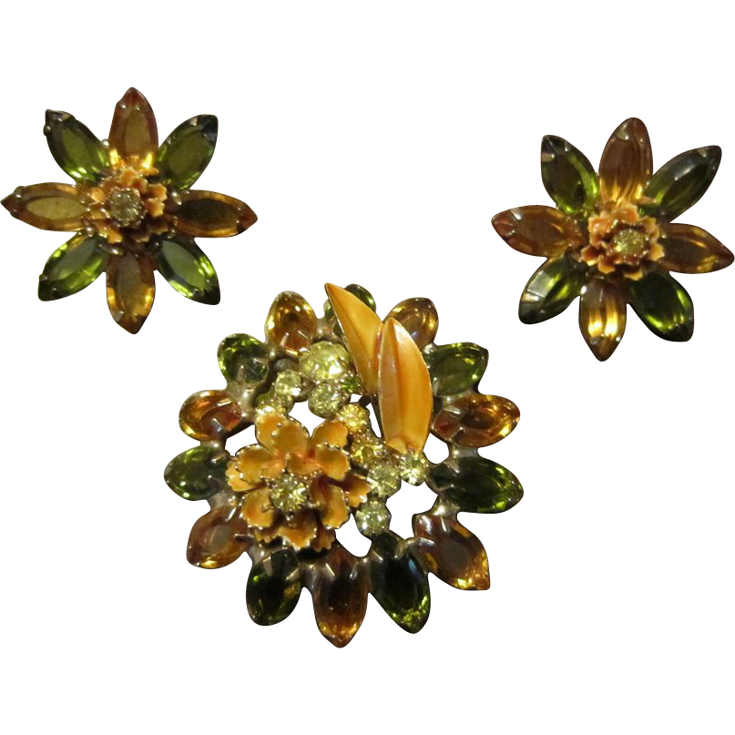 Hattie Carnegie Autumn Brooch and Earrings