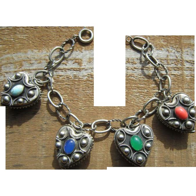 Etruscan Revival Heart Bracelet - 800 Silver