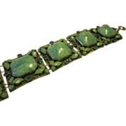 Neiger Czech Bracelet with Peking Glass, Enamel and Rhinestones