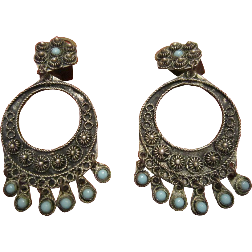 Etruscan Style Dangle Earrings - 900 Silver