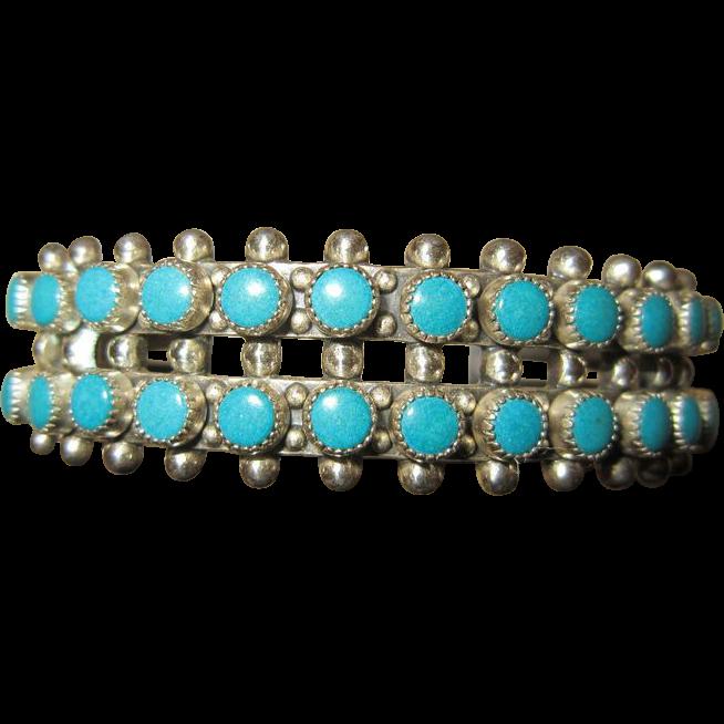 Harvey Era Zuni Turquoise Sterling Cuff Bracelet