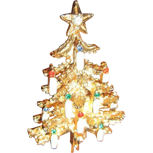 ART(C) Christmas Tree Brooch with 10 Candles