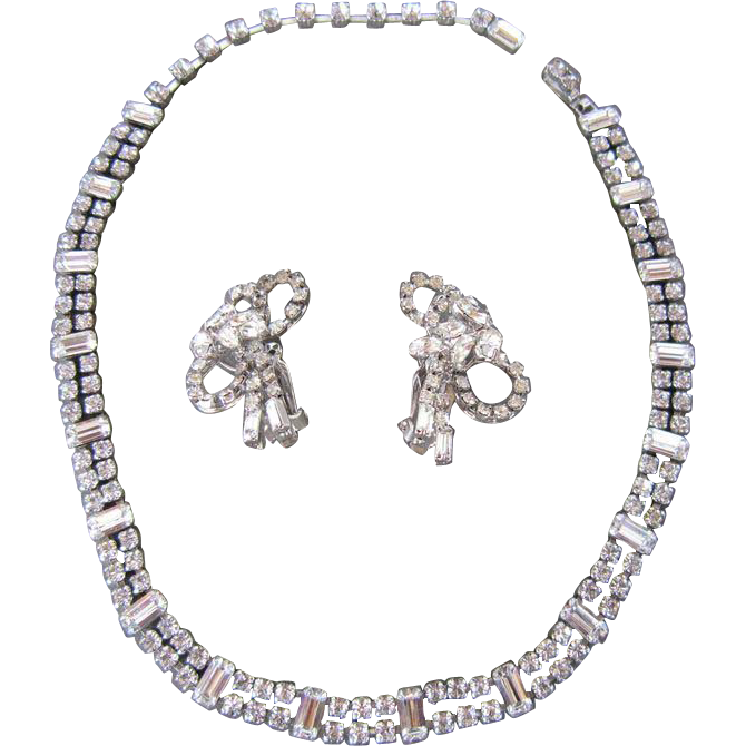 Unsigned Fenichel Clear Rhinestone Necklace and Earrings