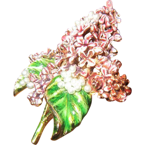 RESERVED: MFA Lilac Flowers in Lavender and Green Enamel with Faux Pearls