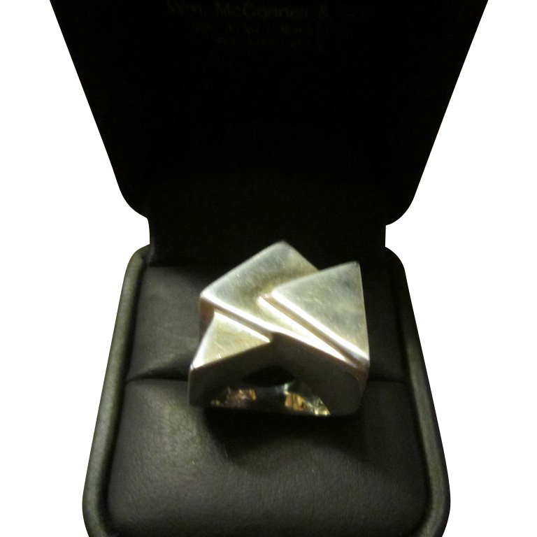 3 Plane Faced Sterling Ring Signed