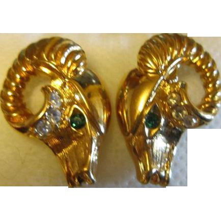 K.J.L. for Avon Gold Tone Ram's Head Earrings
