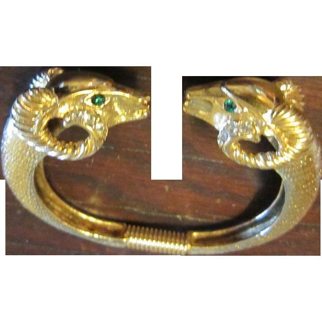 K.J.L. for Avon Gold Tone Rams' Heads Bracelet