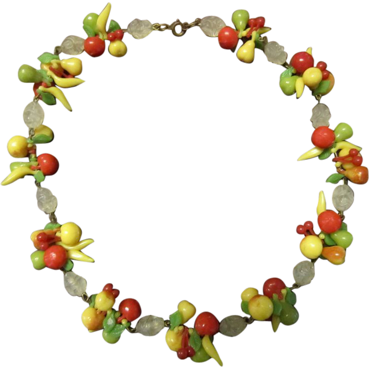 Mid Century Plastic Fruit Necklace