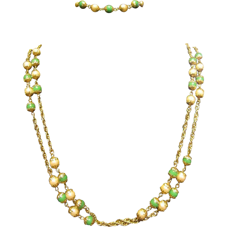 "Celebrity 50"" Green Glass Beads and Faux Pearls Necklace Plus Bracelet"