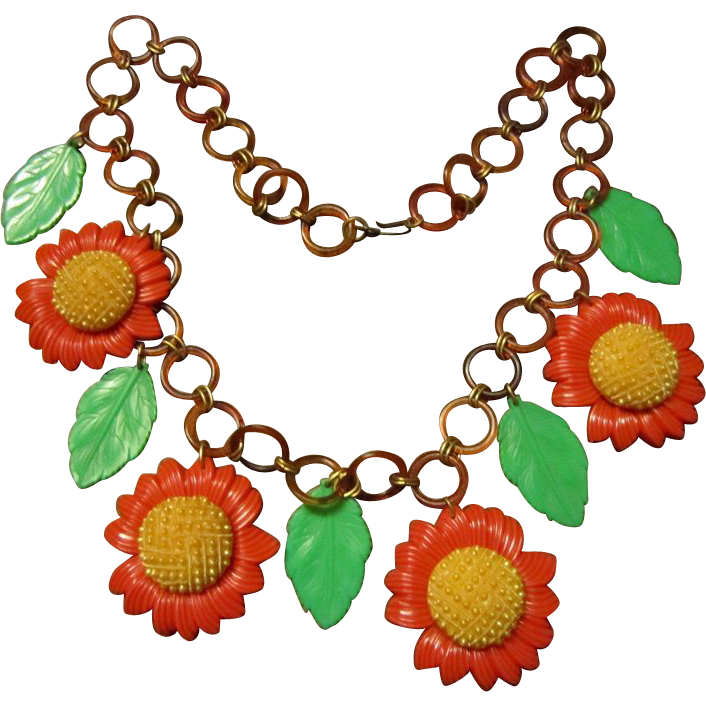 Sunflower Celluloid Chain Necklace