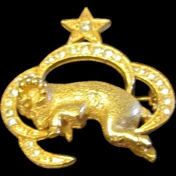 St. Labre Zodiac Ram/Sheep Brooch - Rhinestones