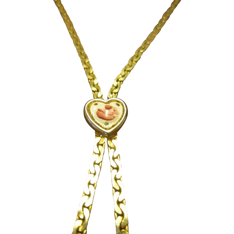 Goldette Lariat Necklace with Enamel Heart