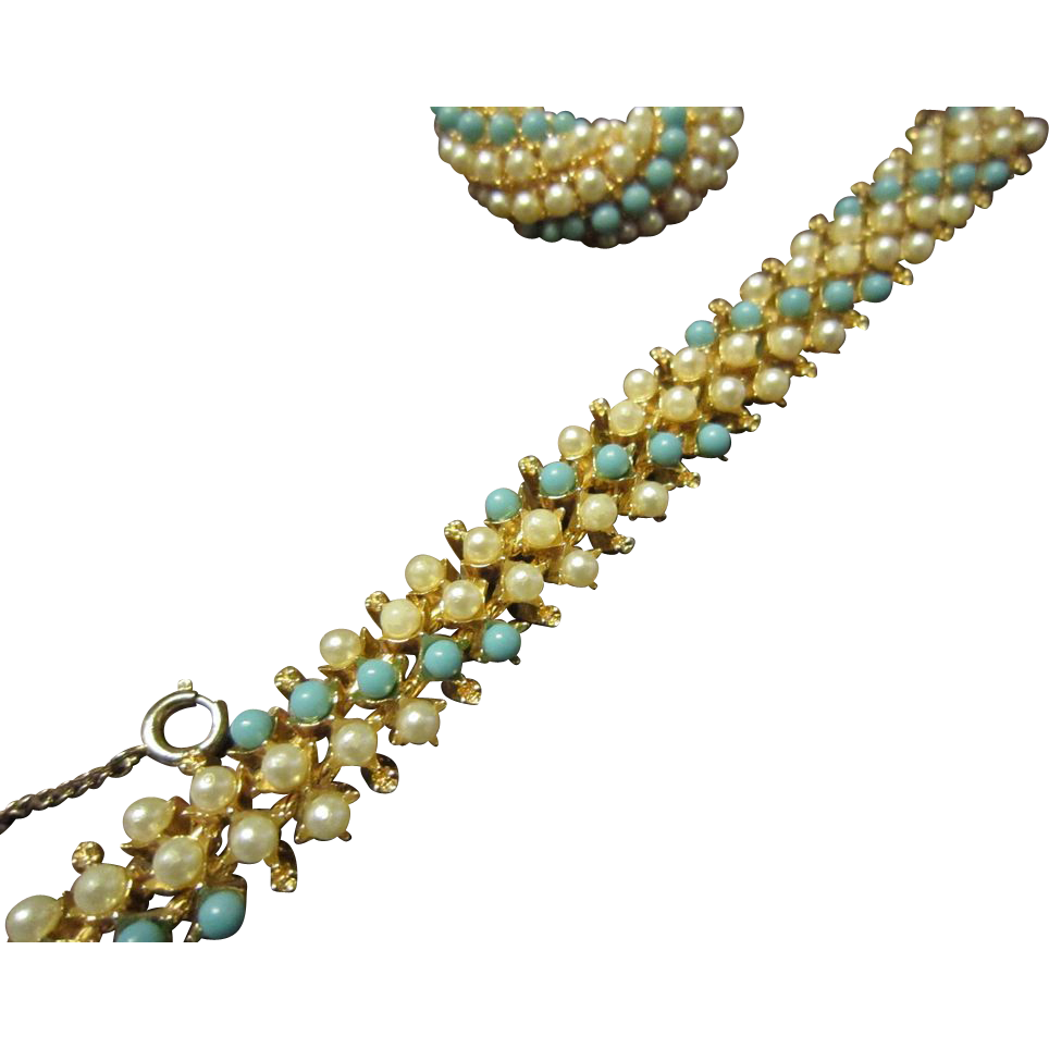 Faux Pearls and Turquoise Bracelet and Brooch