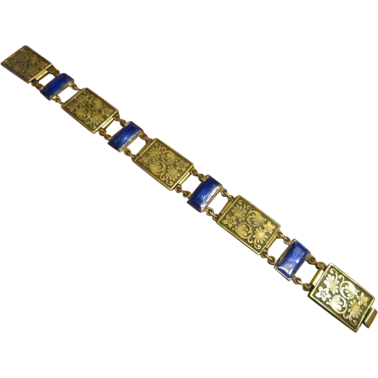 Art Deco Bracelet with Brass, Niello Work and Enamel