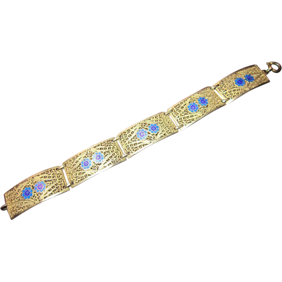 Neiger Filigree Brass Panels with Blue Flowers