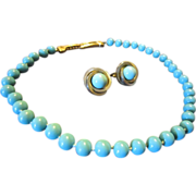 Ciner Faux Turquoise Necklace and Earrings