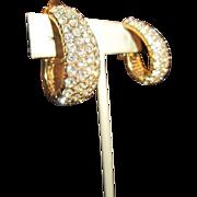Ciner Hoop Earrings - Gold Tone and Clear Rhinestones