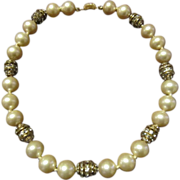 Ciner Necklace Faux Pearl and Gold Tone Beads Studded with Clear Rhinestones